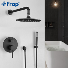 цена на FRAP bathroom shower faucet brass set black rainfall shower head set mixer taps bath tub faucets waterfall Bath Shower system