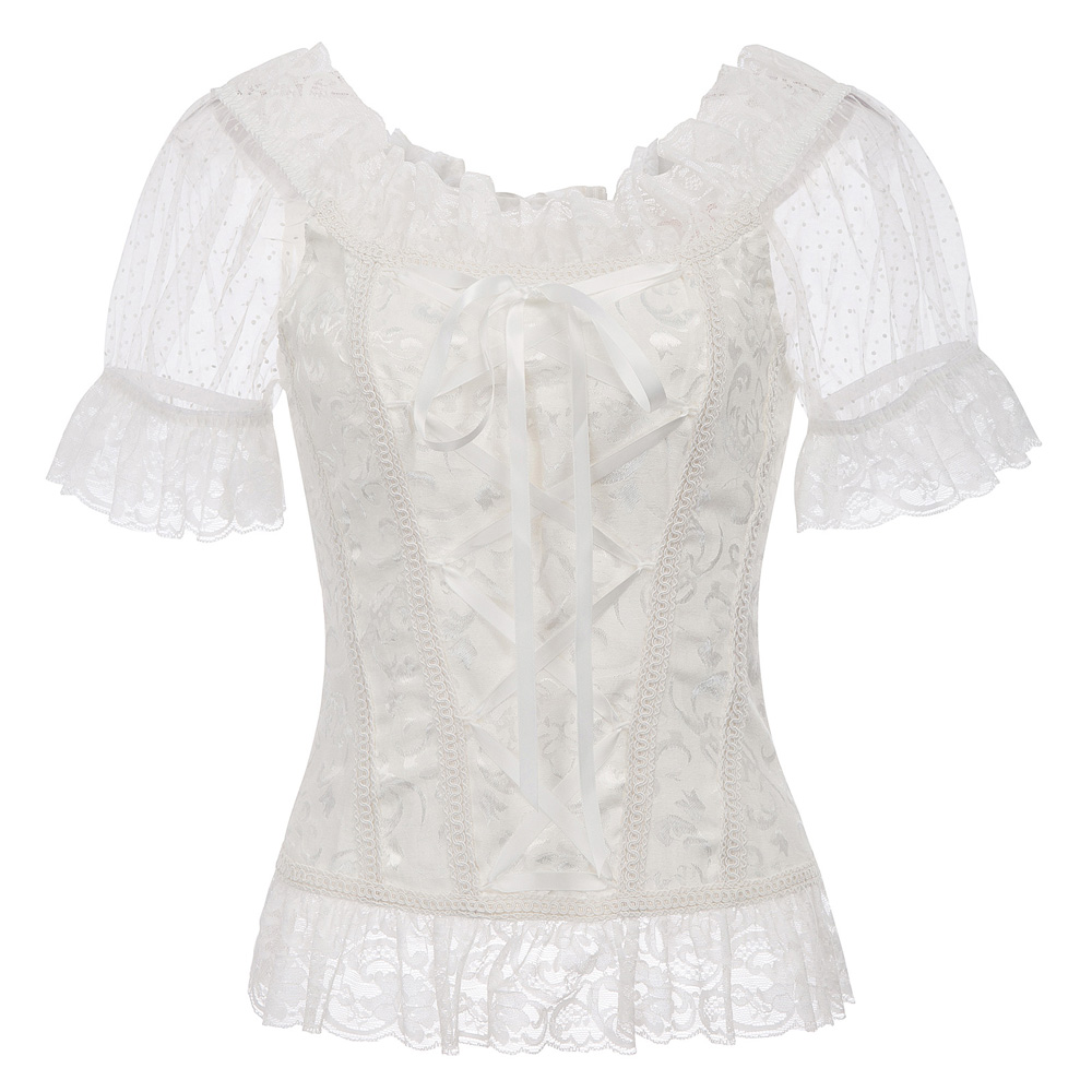 Black Ivory Vintage Lace Tops Short Sleeve Off Shoulder Lace-up Back 2018 Summer Women Renaissance Corset Style Tops