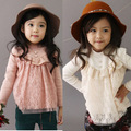 Hot Cute Baby Kids Spring&Autumn Pink Lace T-shirts Long Sleeve Girls Tops Blouse Casual T shirt 2016 kinder kleidung 2-7years