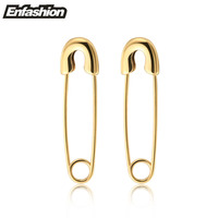 Fashion Punk Safety Pin Earrings 18K Rose Gold Earrings Stud Stainless Steel Clip On Earrings For