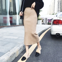 High Quality Autumn Bodycon Elastic Waist Knitted Women Pencil Skirt Sexy Package Split Mid length Vintage Sweater Skirts Femme