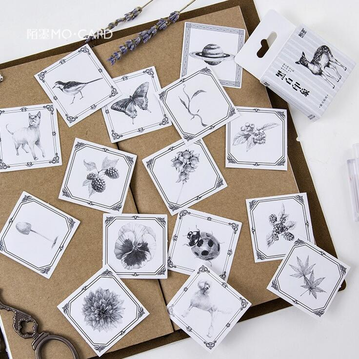 Black And White Impression Stickers Adhesive Stickers DIY Decoration Stickers lovely panda animals stickers adhesive stickers diy decoration stickers