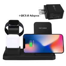 QI Wireless Charger For IPhone 8 Plus X XS Max XR Samsung S9 S8 3 IN 1 Wireless Charging Dock Station For AirPods Apple Watch цены онлайн