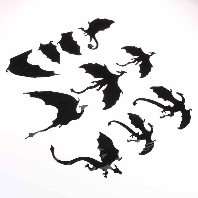 7Pcs//Lot Gothic Dragons Wall Stickers Game of Thrones Inspired 3D Dragon Decor