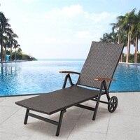 Folding Back Adjustable Aluminum Rattan Recliner Brown Lounger Wheels For Patio Beach Pool Using Modern Outdoor Furniture OP3417