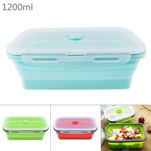 1200ML Silicone Lunch Box Rectangle Folding Food Container Portable Bowl Three Colors box  Eco-Friendly