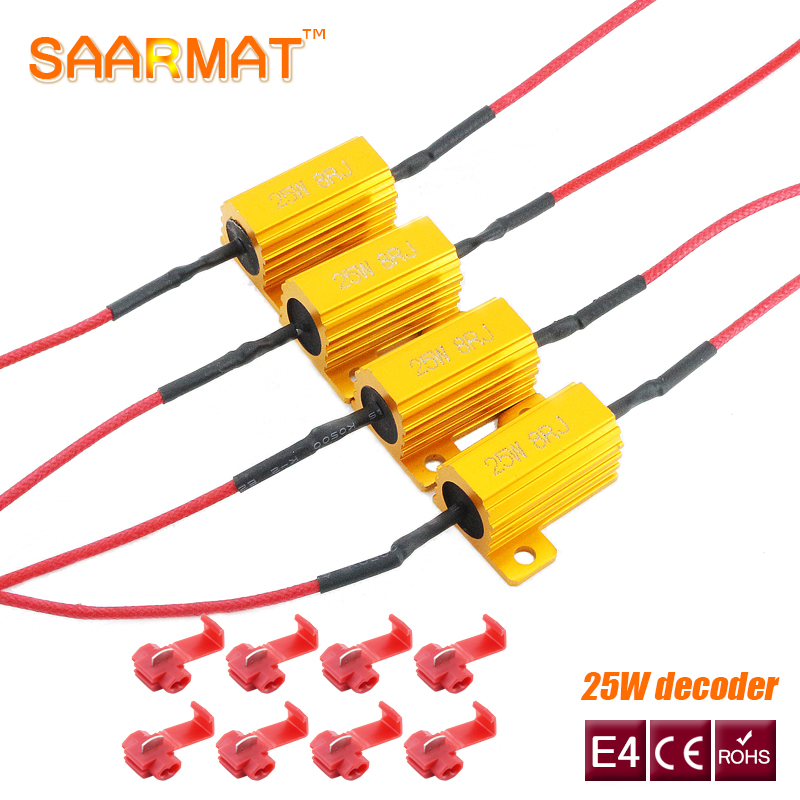 4X 25W LED  Reverse Brake Turn Signal Light Load Resistor Fix Error Fast Flash 7443 WY21W W21W 7440 P21/5W 1157 P21W 1156 PY21W
