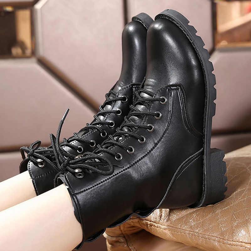 Mắt cá chân Giày cho nữ màu đen size lớn 4.5-10 fleeces xe máy tăng thoải mái Da Bò Nữ Spring
