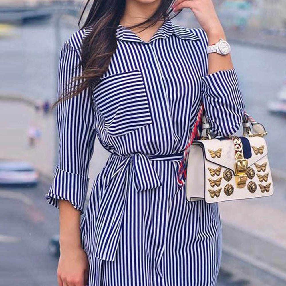 Vestidos ドレス女性包帯ドレス夏スタイルローブフェムセクシーカジュアルストライププリントパーティードレス長袖ベルトドレス vestidos