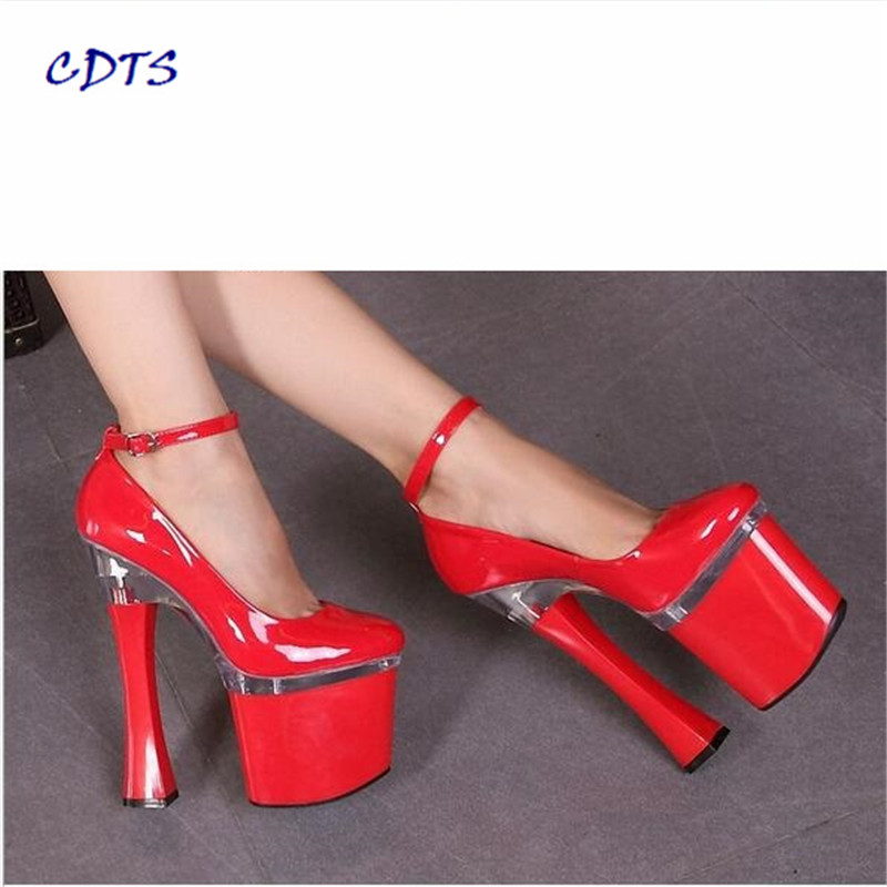 CDTS 2016 Spring/Autumn zapatos mujer Plus:35-45 46 Ankle Strap shoes woman 18cm Square high heel Round Toe platform pumps cdts 2016 summer zapatos mujer plus 35 45 46 glitter shoes woman 18cm square high heel peep toe platform pumps