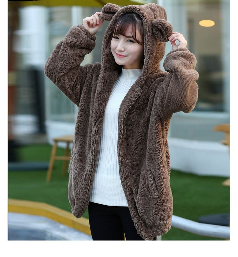 ZOGAA New winter Korean version of the little bear bunny with ears and tail cartoon plush jacket hooded women