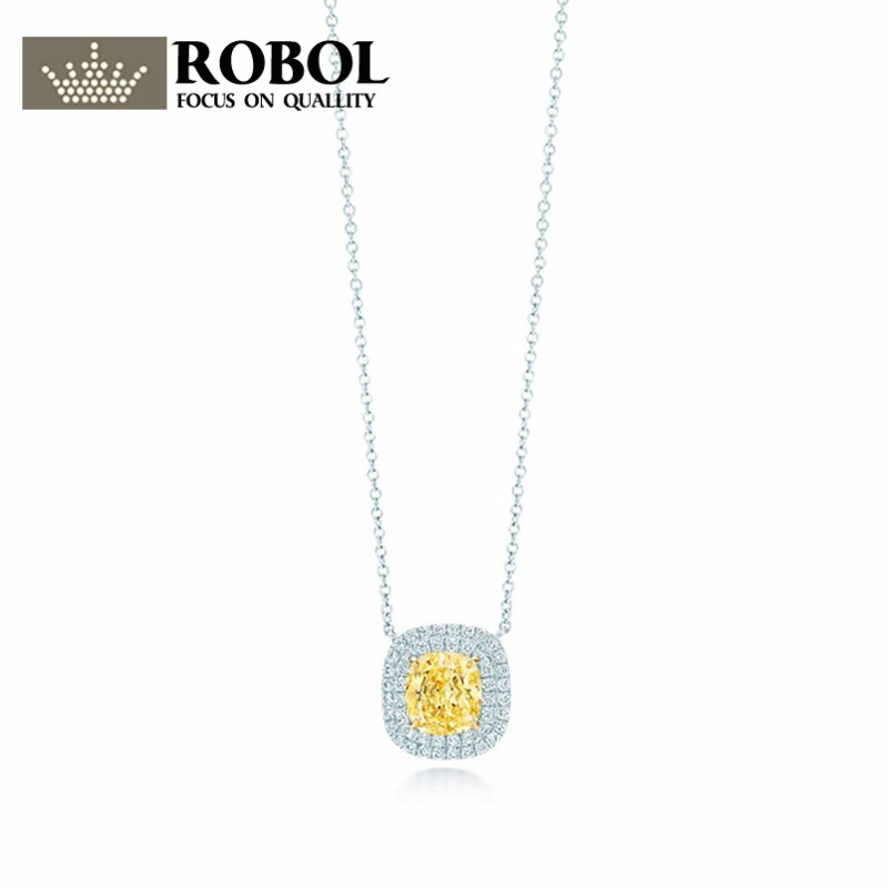 EDELL yellow zirconium pendantnecklace 100% 925 Sterling Silver Pendant Nature Fashion Jewelry Package Mail