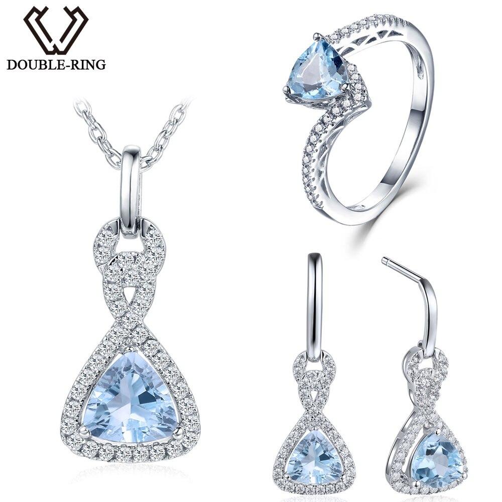 Double-R 3.33ct Réel Bleu Topaze 925 Sterling Argent boucles d'oreilles Anneau femmes pendentif Bijoux Ensembles Argent Chaîne Femmes cadeau