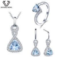 Double R 3.33ct Real Blue Topaz 925 Sterling Silver drop earrings Ring women pendant Jewelry Sets Silver Chain Women gift