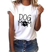 De las mujeres de la moda de manga corta suelta perro de la mamá de  streetwear camiseta Casual o-Cuello superior Kawaii japonés . 2671702f3d9ea