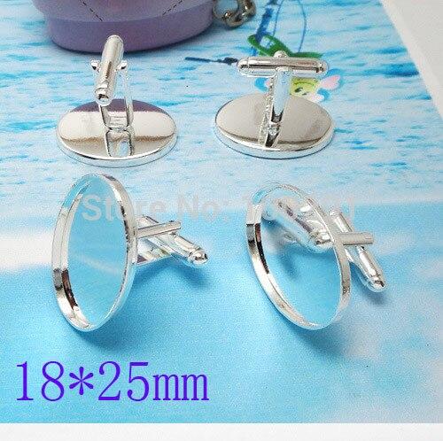 Bulk 200 Pieces Silver Tone Oval Blank French Cuff Links~Cufflinks 18*25mm MN-3054