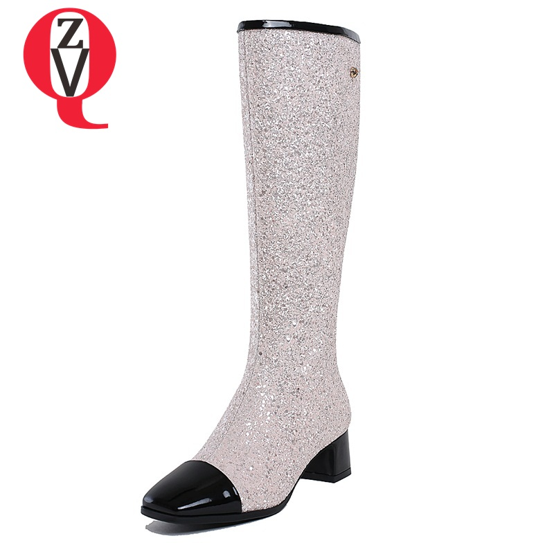 ZVQ 2017 new knee-high boots fine workmanship square toe lengthen the leg line high-end and elegant modern women boots delicate rhinestone leaf link chain hair band for women