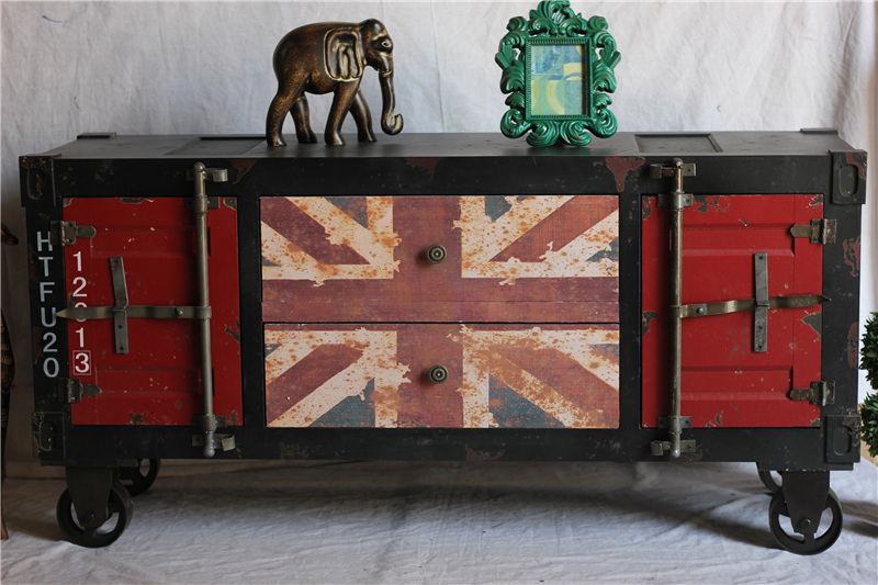 Distressed Classic American Style Antique Furniture Loft Mining British  Flag Imitation Iron Cabinet TV Cabinet Cupboards In Bar Tables From  Furniture On ...