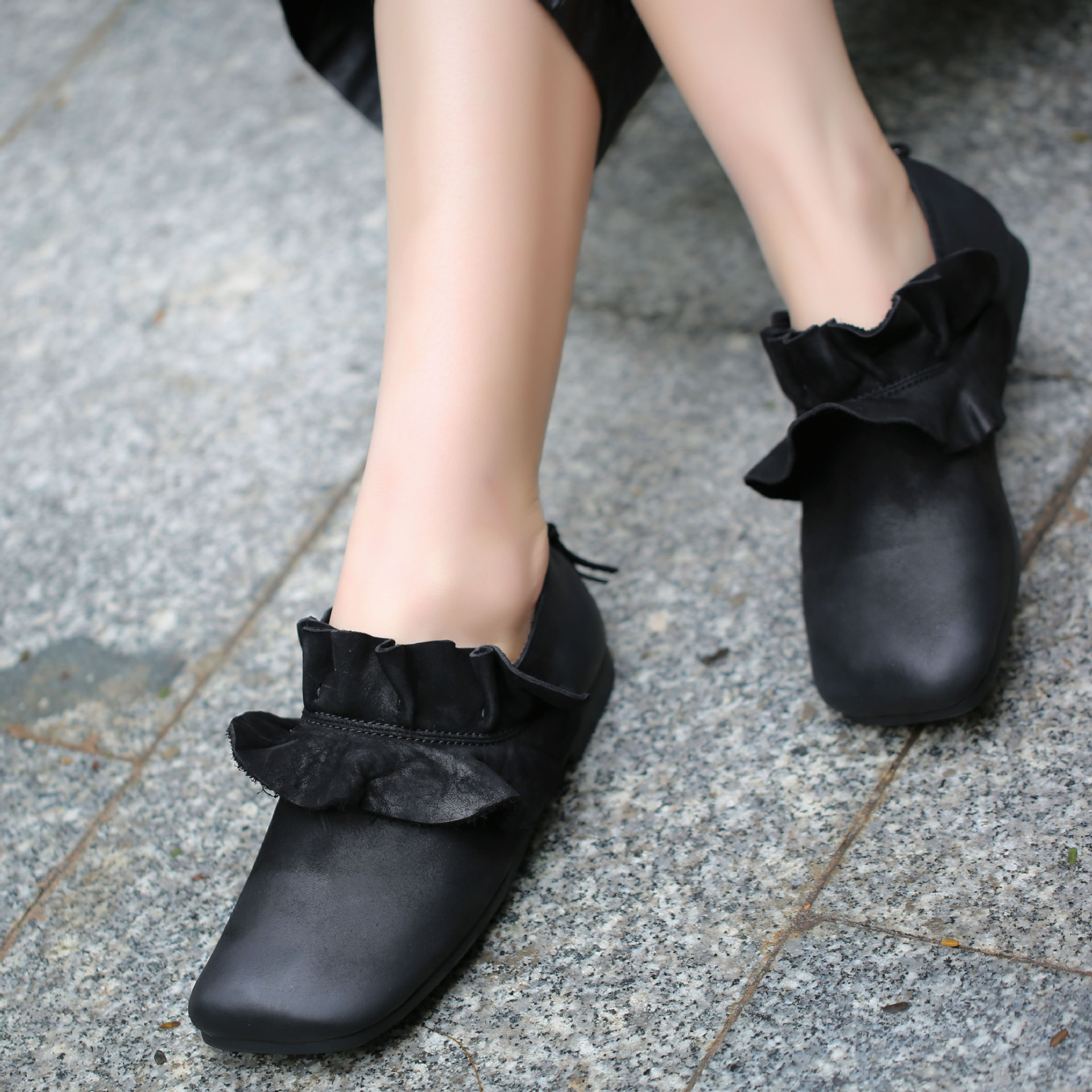 2019 Original Design Women Shoes Flats Pleated Square Toes Natural Leather Soft Handmade Vintage Lady Black