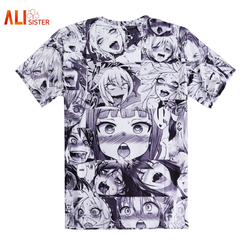 Alisister ahegao print t shirt men women harajuku for Print one t shirt