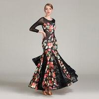 Sexy Ballroom Dance Dress For Woman Long Sleeves National Standard Ballroom Dress Waltz Tango Competition Dance Dresses DQS2167
