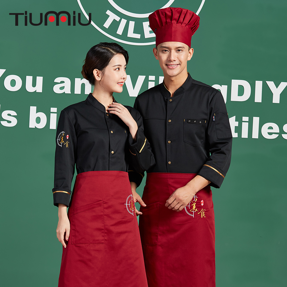 Chinese Restaurant Kitchen Chef Uniform Men Women Cooking Chef Tops Clothing Single Breasted Long Sleeve Jackets Outfit Overalls