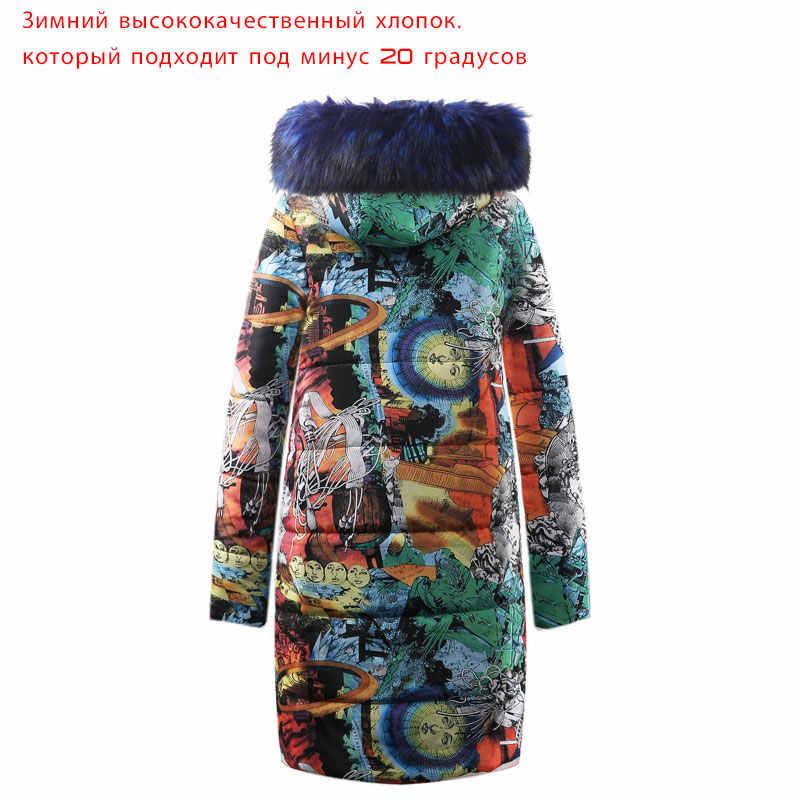 2019 vrouwen parka big faux fur vrouwen winter gewatteerde jassen warm fashion lange mouwen rits print dames kleding