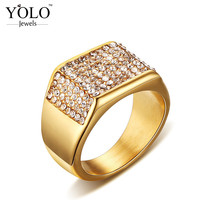 Crystal Statement Trendy Stainless Steel Wedding Rings for Men Fancy Ring for Boys with Gold Ion Plated Suitable for Parties
