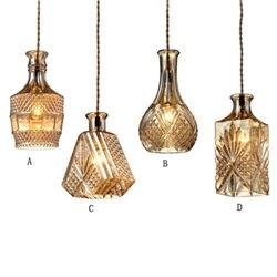 Dikale Retro Ajustável Cabo Refinado Decanter decanter Garrafa de Vidro Pingente Luminárias para sala de jantar lâmpadas