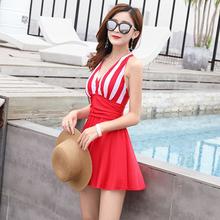 Women Bathing Suit Plus Size Swimwear Swimsuit Striped Deep V Sexy Beach Dresses Back Cross Strap Monokini Maillot 1 Piece Femme