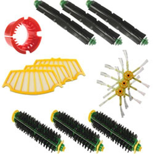 3 Flexible Beater Brush, 3 Bristle Brush, A Cleaning Tool, 3 Filters, 3 Side Brushes For iRobot Roomba 500 Series kit for irobot roomba 500 series vacuum cleaning robots bristle brushes flexible beater brush side brushes 6 armed screw filters