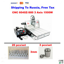 CNC 6040Z-S80 cnc router machine 1500W 20 pcs Tungsten Rotary File/Burr + 3 pcs collet wood lathe
