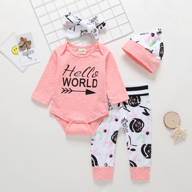 da21f2cf161b 2019 New Hello World Baby Girls Clothing Set Cotton Long Sleeve Pink Tops+ Pants+Headband 3Pcs Sets Infant Girls Clothes outfit-in Clothing Sets from  Mother ...