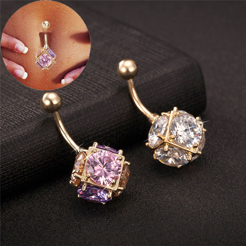 Gussiarro Magic Ball CZ Perhiasan Emas-warna Belly Button Rings Colorful Batal Cubic Zirconia Piercing Body Piercing Navel