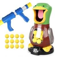 Race Air Guns Shoot Hungry Duck Air Pump Pistol Electronic Scoring Dynamic Music EVA Foam Ball Gun Game Toys For Children's gift
