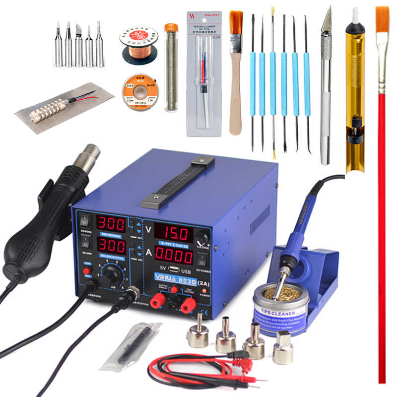 4 in 1 HOT AIR REWORK Soldering Iron Station DC Power Supply 30V 5A YIHUA 853D