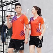 ZMSM Women/Men Quick Dry Badminton Set V-neck Table Tennis Clothes Training Uniform Shirts Shorts Skirts Sport Suit Y121