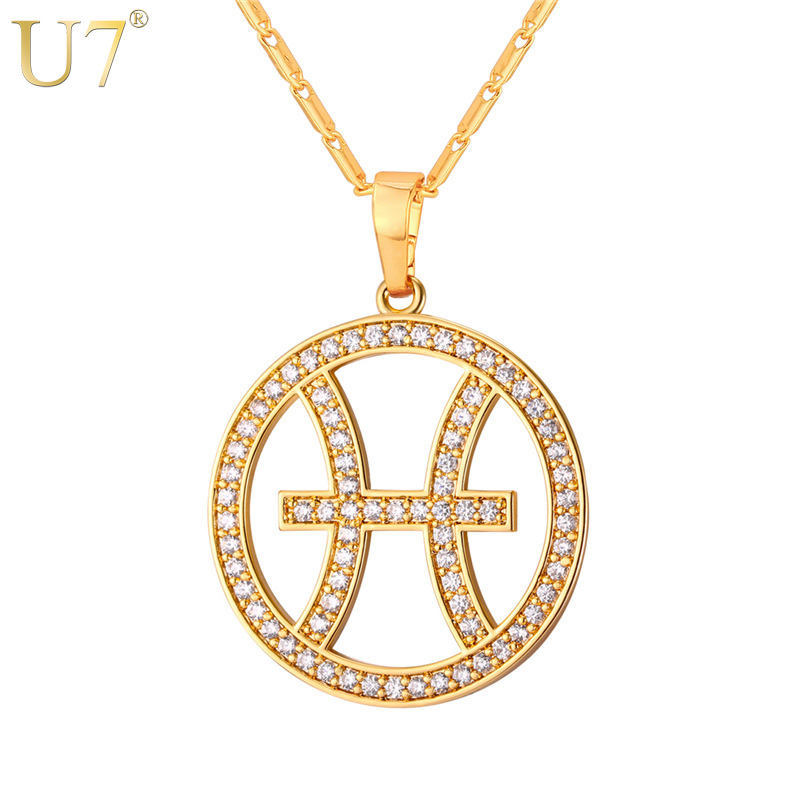 U7 Pisces Zodiac Sign Necklaces & Pendants Round Gold Color Cubic Zirconia Jewelry Accessories For Men/Women Birthday Gift P1071