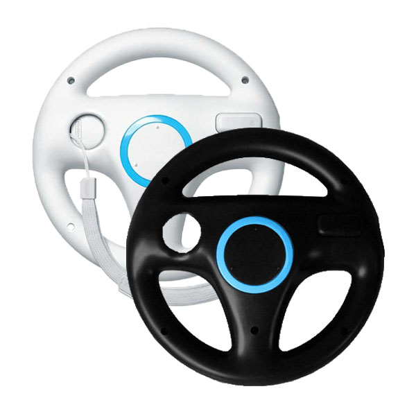 2Pcs Kart Racing Steering Wheel for Nintendo Wii Racing Games Remote Controller Console For Wii Remote Control Black and White ...