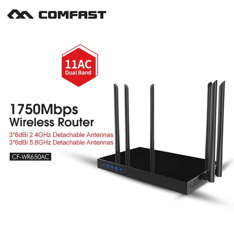 High power wireless router dual band AC 5g repeater wireless extender 5ghz gigabit wifi wired router COMFAST CF-WR650AC tenda ac15 1900mbps wireless dual band gigabit wifi router wifi repeater 1300mbps at 5ghz 600mbps at 2 4ghz usb 3 0 port ipv6