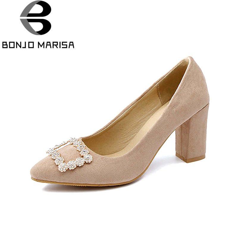 BONJOMARISA Women's Metal Chunky High Heels Party Wedding Office Shoes Woman Pointed Toe Less Platform Pumps Big Size 31-48 baoyafang white and red womens wedding shoes bowknot bride high heels platform shoes round toe big size female shoes woman pumps