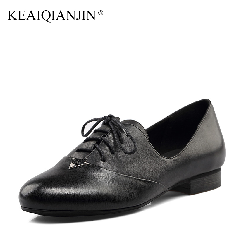 KEAIQIANJIN Woman Genuine Leather Derby Shoes Spring Autumn Black Casual Loafers Shoes Plus Size Lace Up Genuine Leather Flats keaiqianjin woman sheepskin flats black red silvery plus size 33 41 spring autumn derby shoes lace up genuine leather shoes