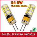 2017 New 1pcs 540Lumen 3W 6W G4 LED 12V AC DC 24/48 X3014 SMD Bulb Lamp free shipping