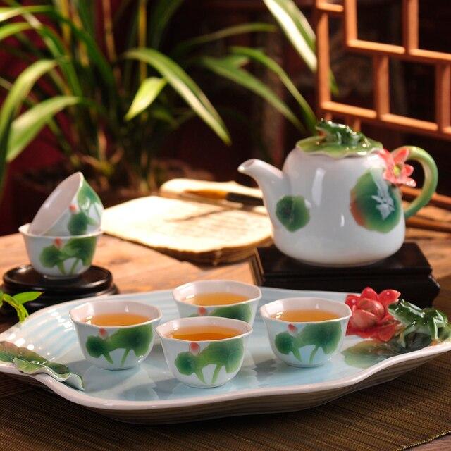 Hand Enamel Painted Porcelain Coffee Set.Ceramic Kung Fu tea set Lotus Tea Cup