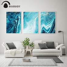 Allenjoy Nordic Abstract Posters Blue Golden Marble Canvas Painting Unique Decorative Wall Art Pictures Bedroom Charts