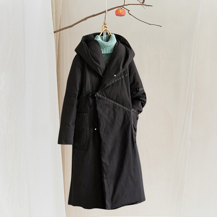 Lin Solide Nouveau Bas Section Femmes Vers Lâche Le Beige Longue Coton Épaississement Casual Couleur noir Veste Plus À Capuchon xnZgx