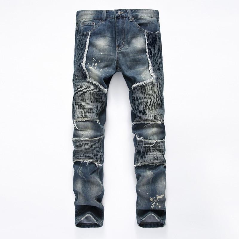 ФОТО Hot Sale Famous Brand Pleated Jeans Men High Quality Denim Overalls Luxury Brand Clothing Straight Elastic Skinny Biker Jeans