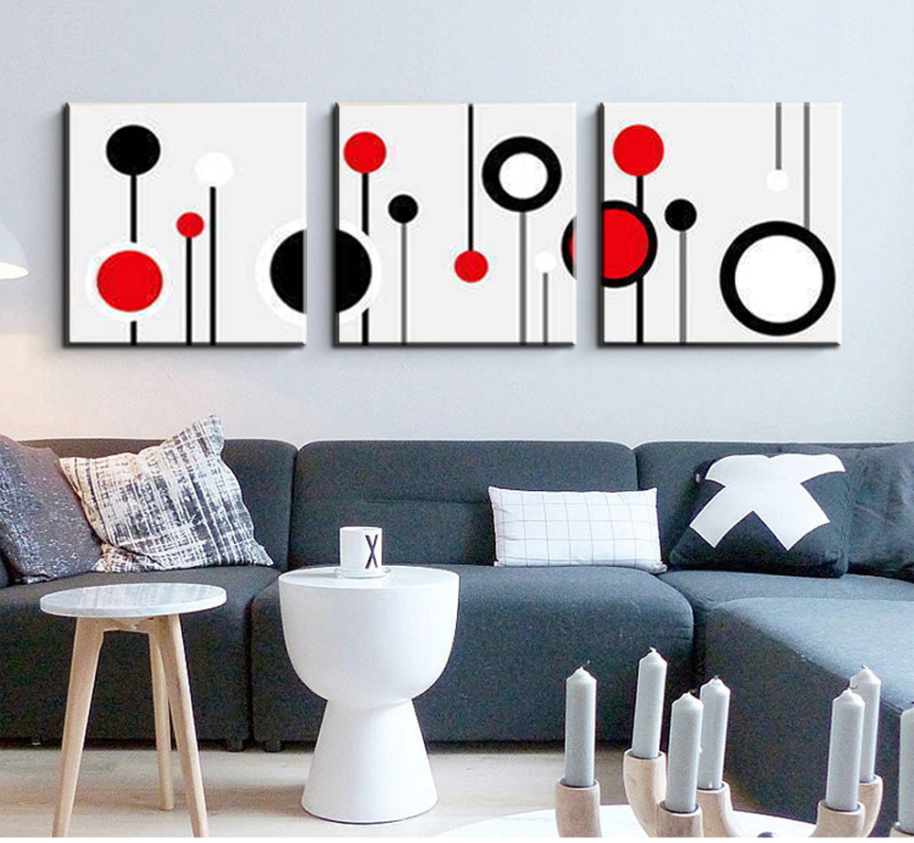 3 Piece Canvas Wall Art Wall Picture Modern Wall Abstract Oil Canvas  Painting Black White And Red Wall Pictures For Living Room