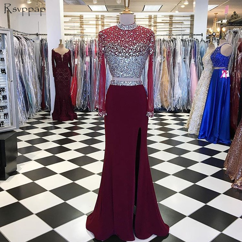 Long Trumpet Prom Dresses 2019 High Neck Mermaid Long Sleeves Beaded Crystals African High Slit Burgundy Two Piece Prom Dress