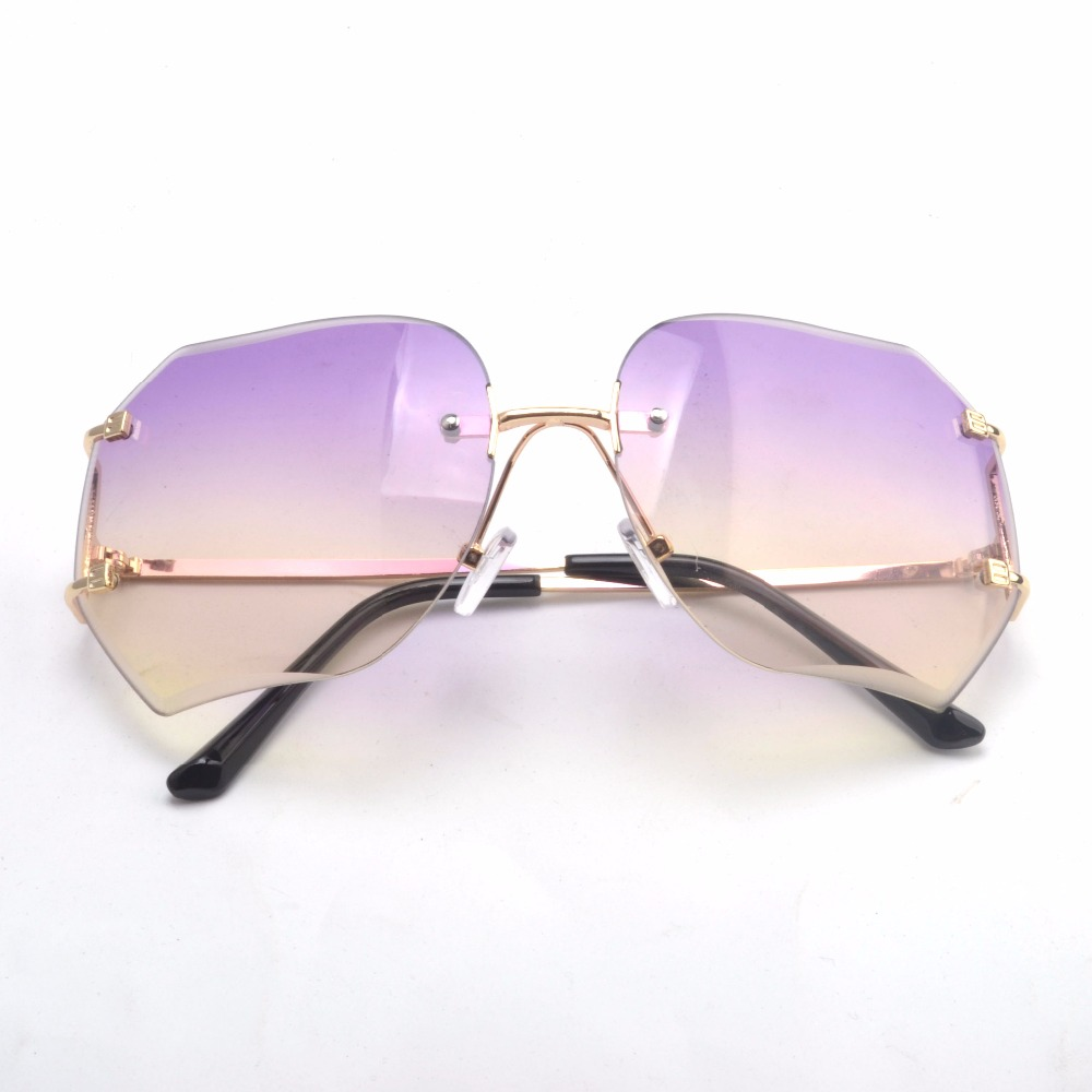 c621c37df4 Fashion star style fashion sunglasses gradient women s rimless sunglasses  vintage big box frog glasses-in Sunglasses from Apparel Accessories on ...